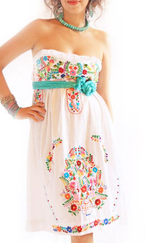 Alegria white Mexican embroidered bohemian dress