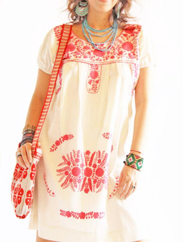 Pink Flowers Mexico embroidered tunic dress