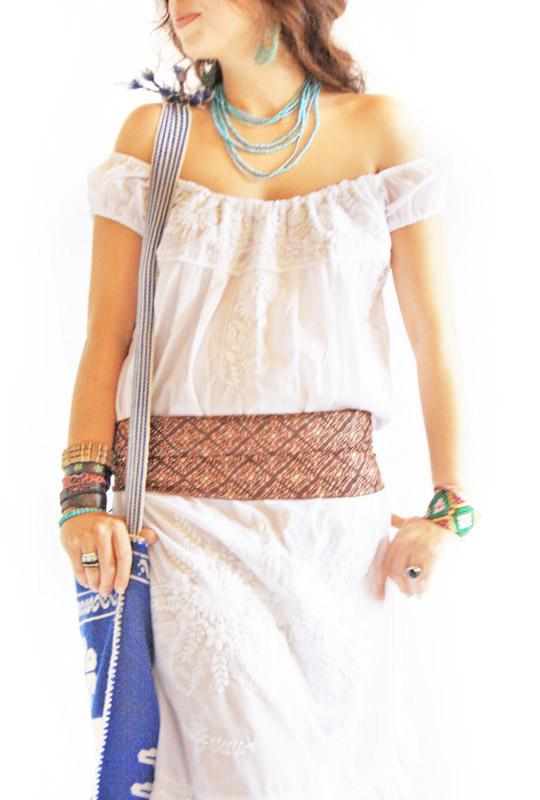 Peace Lover Mexican white crochet embroidered off shoulder dress