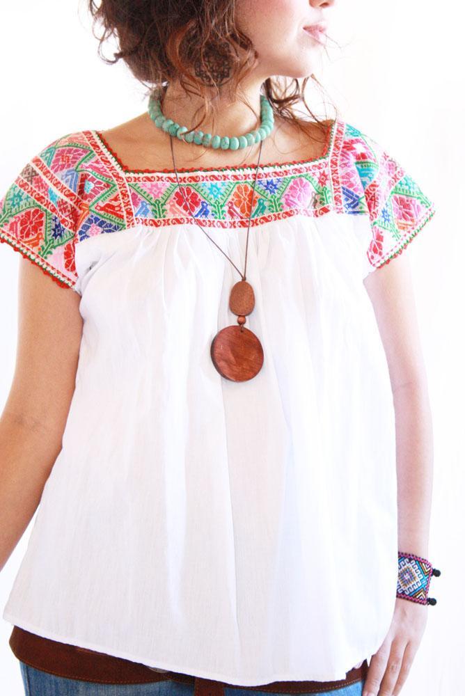 Pajaritos y Peyotitos manta vintage Mexican blouse