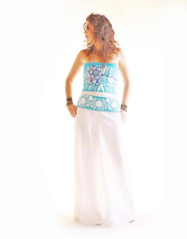 Turquesa peace embroidered skywalker wide leg cotton pants
