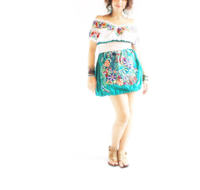 Peacock Mexican embroidered bubble skirt