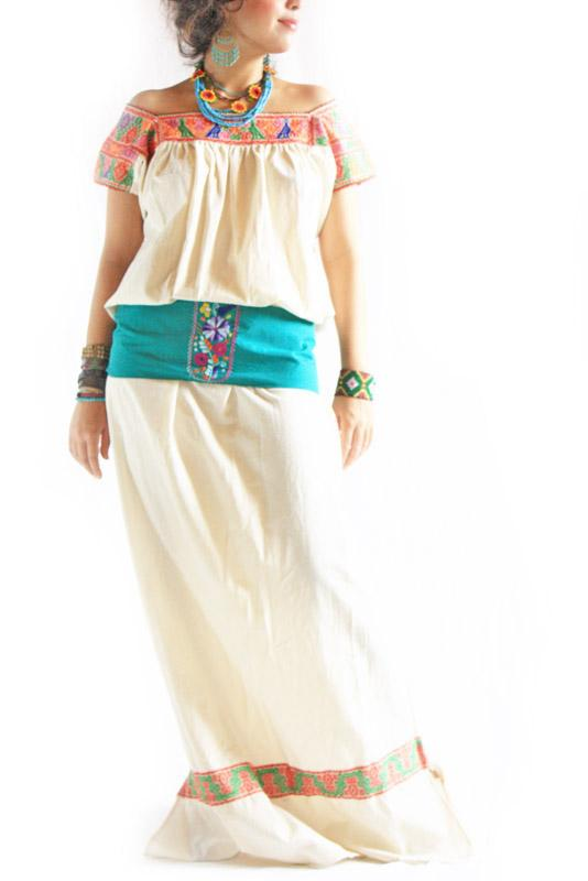 Quetzal bohemian wedding Mexican Maxi Ethnic Dress