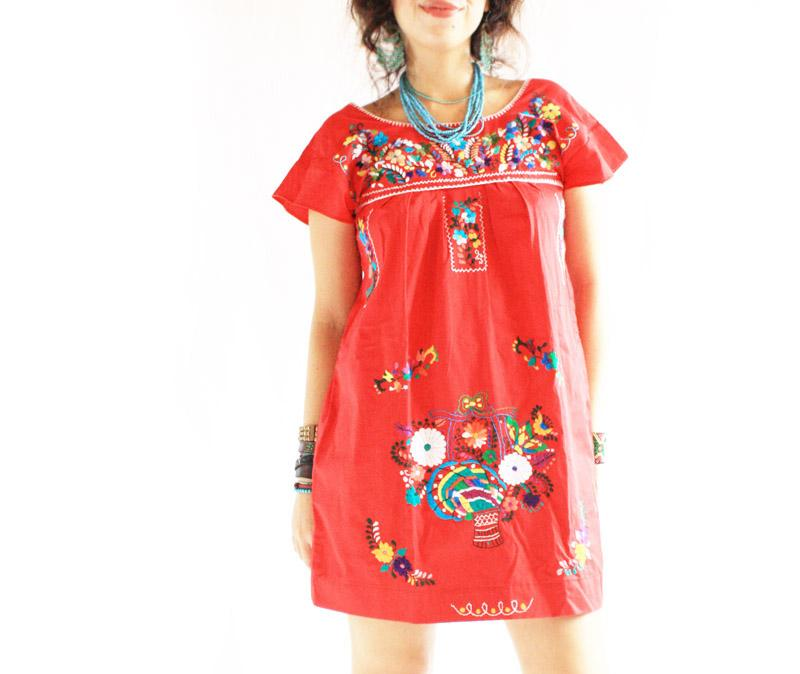 Mexican Dress Red Mini Bohemian Tunic