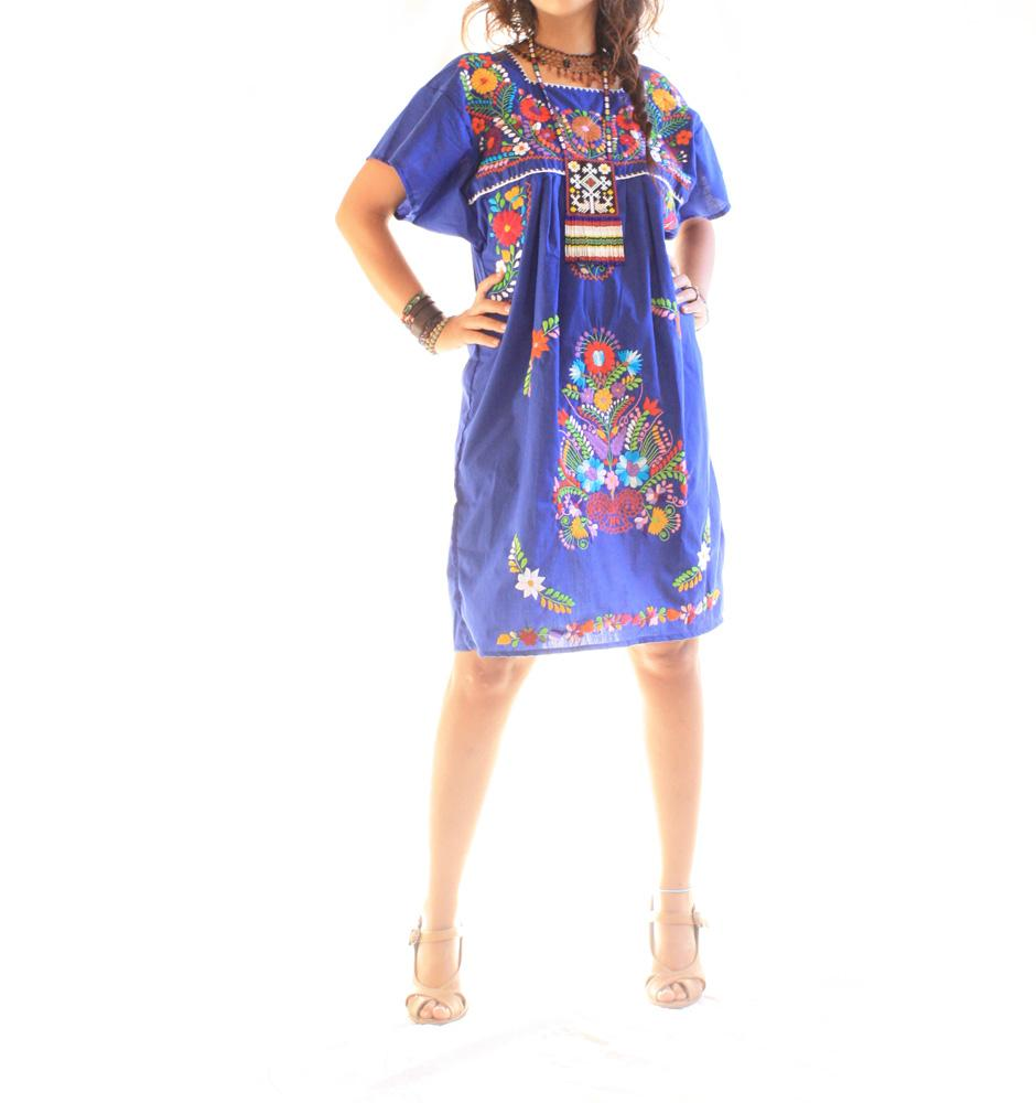 Vintage Royal blue Mexican Embroidered dress