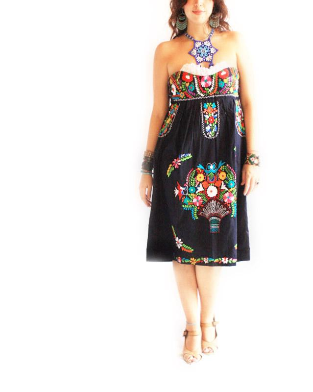 Frida Mexican Embroidered Dress Strapless Tehuanita