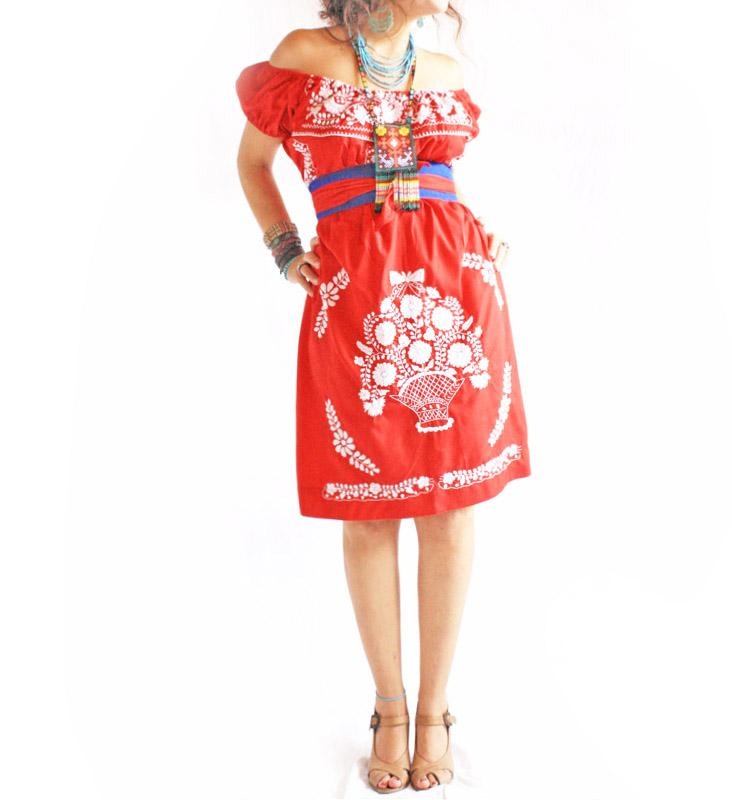Rojo off shoulder Mexico embroidered dress