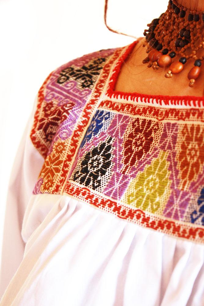 Earth Peace fine embroidery Ethnic Mexican Blouse