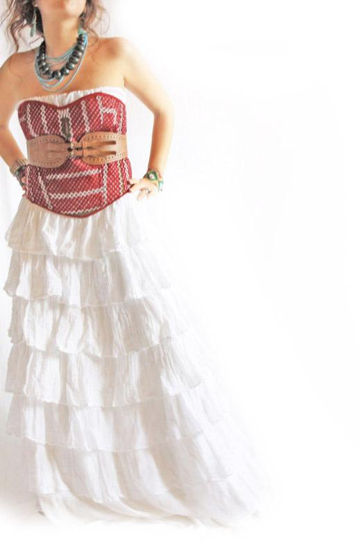 Tehuana Mexicana corset  fine vtg embroidery