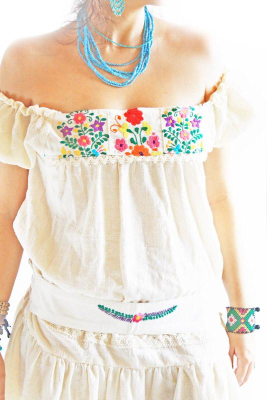 Mexican embroidered bohemian ruffled mini dress