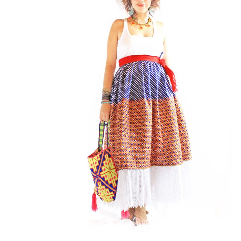 Vintage Embroidered Mexican Tehuana Skirt