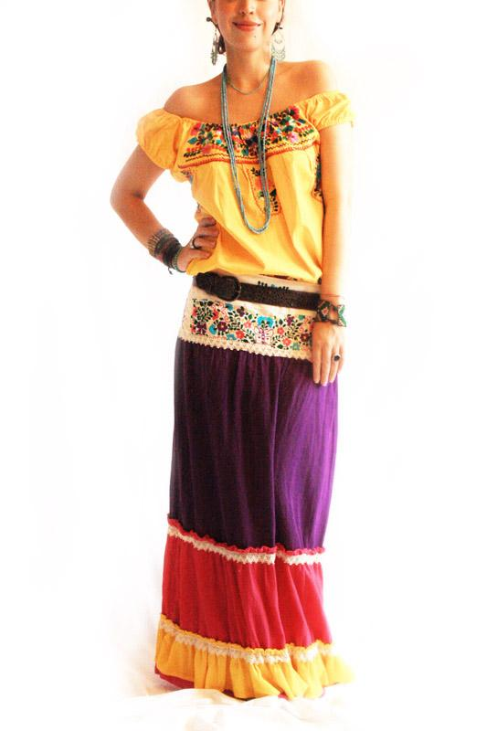Paraiso Etnico Mexican embroidered layered skirt~dress