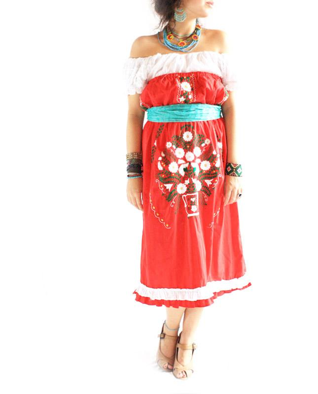 Mexican embroidered dress strapless