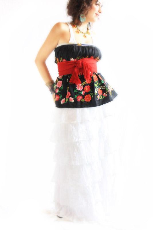 Fridita Flores de Noche Vintage Embroidered Mexican Tehuana Skirt