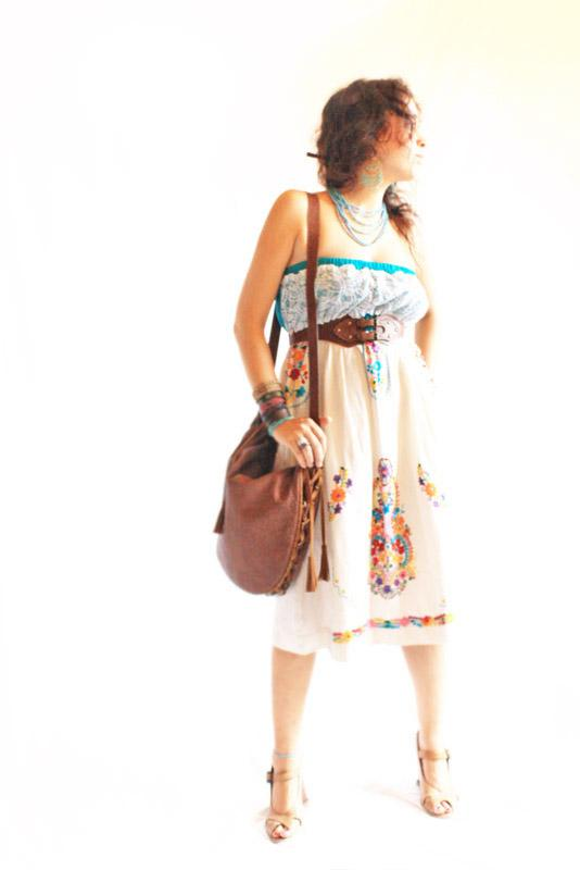 Mexican embroidered strapless dress