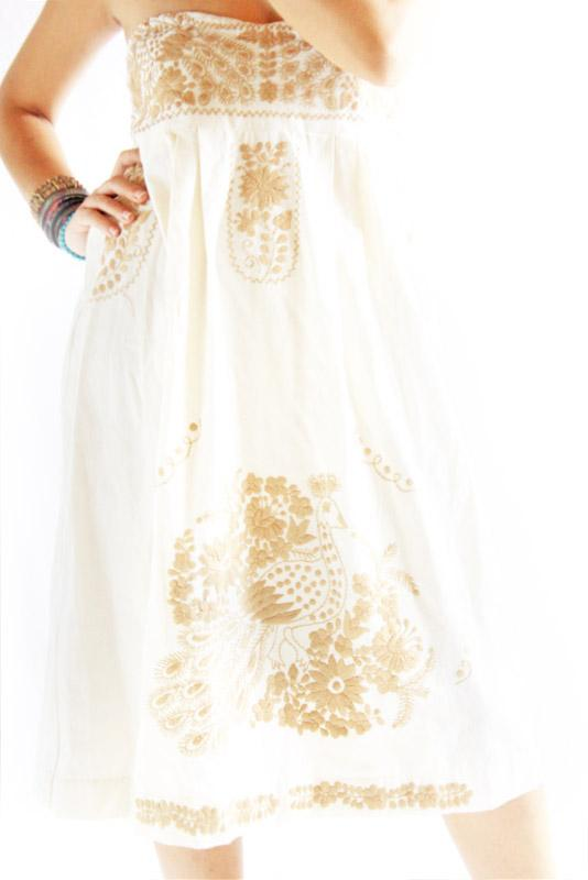 Old Gold strapless Mexican embroidered bohemian dress