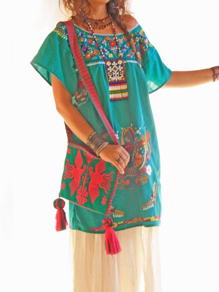 Mexican tunic embroidered deep Jade dress