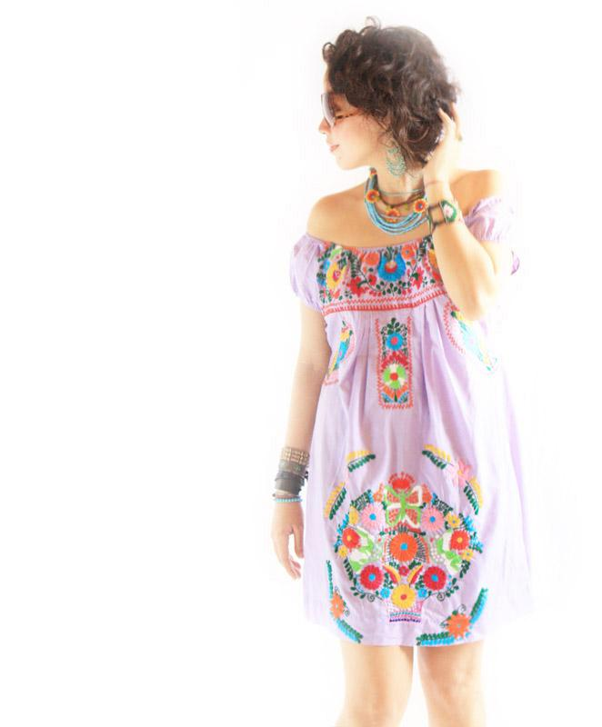 Mexican embroidered off shoulder dress