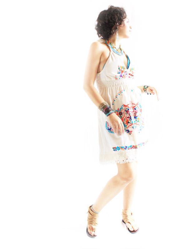 Gypsy Triangles Mexico embroidered mini dress