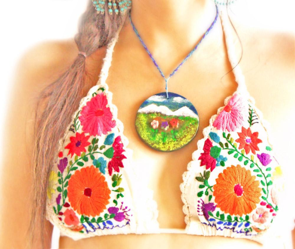 La Playa floral Mexican embroidered crochet bikini top