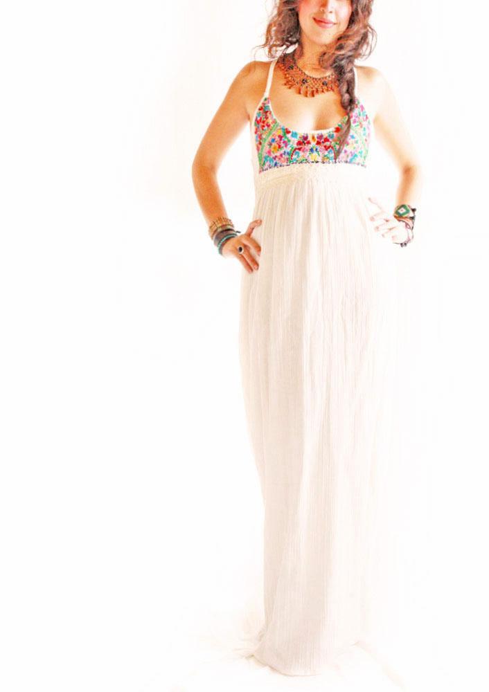 Flor de Mar Mexican romantic embroidered maxi dress