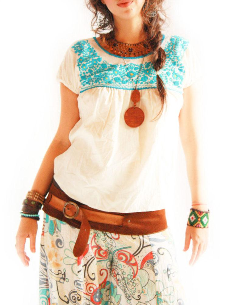 Blue Florecitas Mexican embroidered blouse