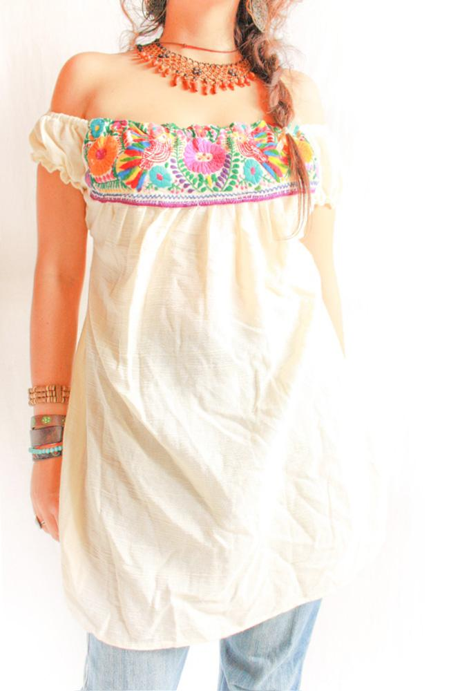 Boho Birds Mexican blouse off shoulder hand embroidery