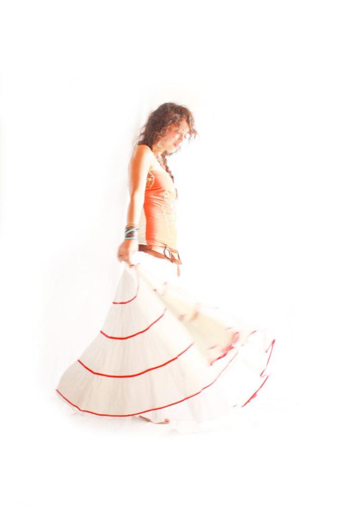 El Rehilete Mexicano vintage style layered maxi skirt