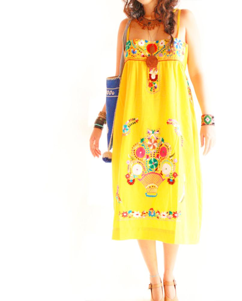 Amor Amarillo Mexican embroidered straps floral dress