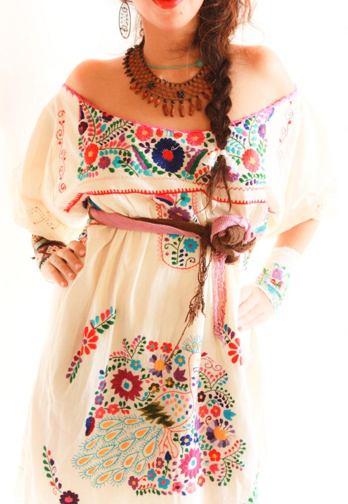 Xochitl peacock off shoulder Mexican embroidered tunic