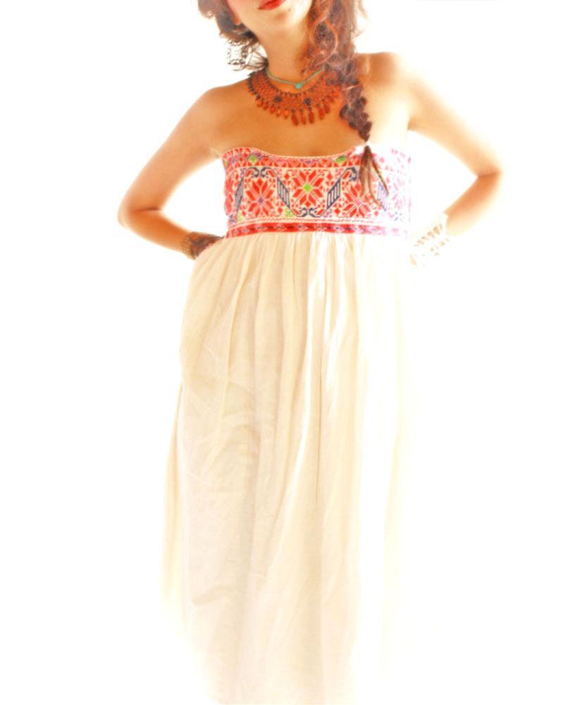 Peyote & Flor ethnic strapless Oaxaca dress Mexico skirt