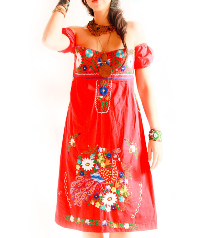 Corazon Rojo Mexico off sleeves embroidered dress