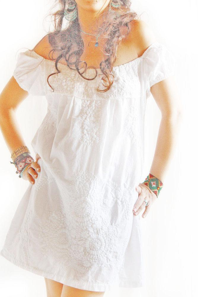 Peace lover white off shoulder Mexican dress