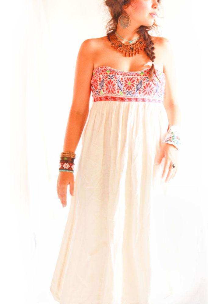 Peyote Flor ethnic strapless Oaxaca dress Mexico skirt
