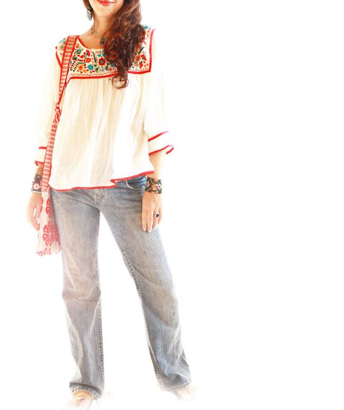 Dominga Mexican embroidered cotton gauze blouse