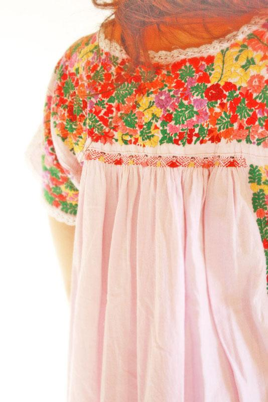 Rosa Maria San Antonino Mexican embroidered pleated maxi dress