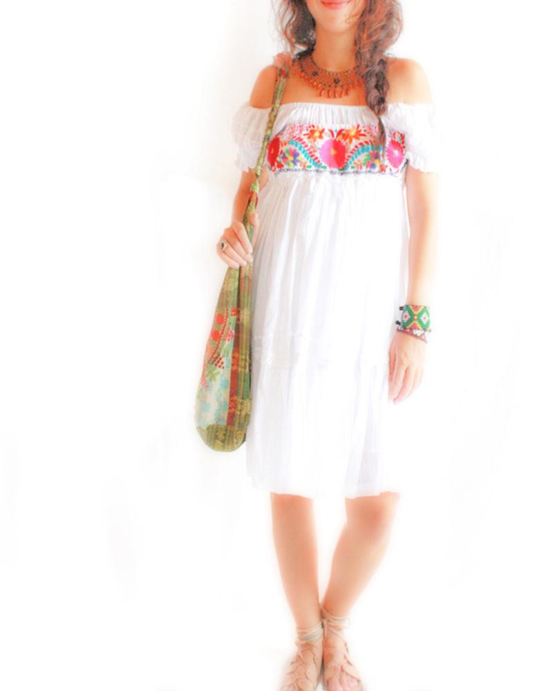 Huitzillin embroidered floral strapless tunic~skirt