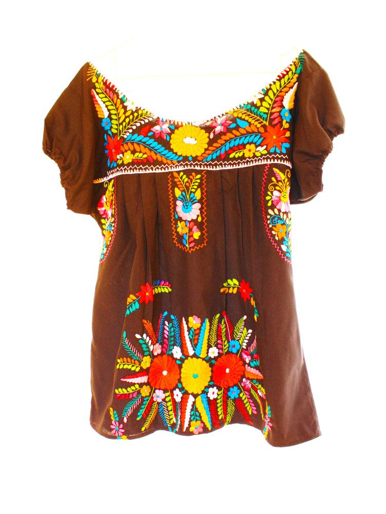 Mexican Embroidered Dress vintage bohemian short tunic