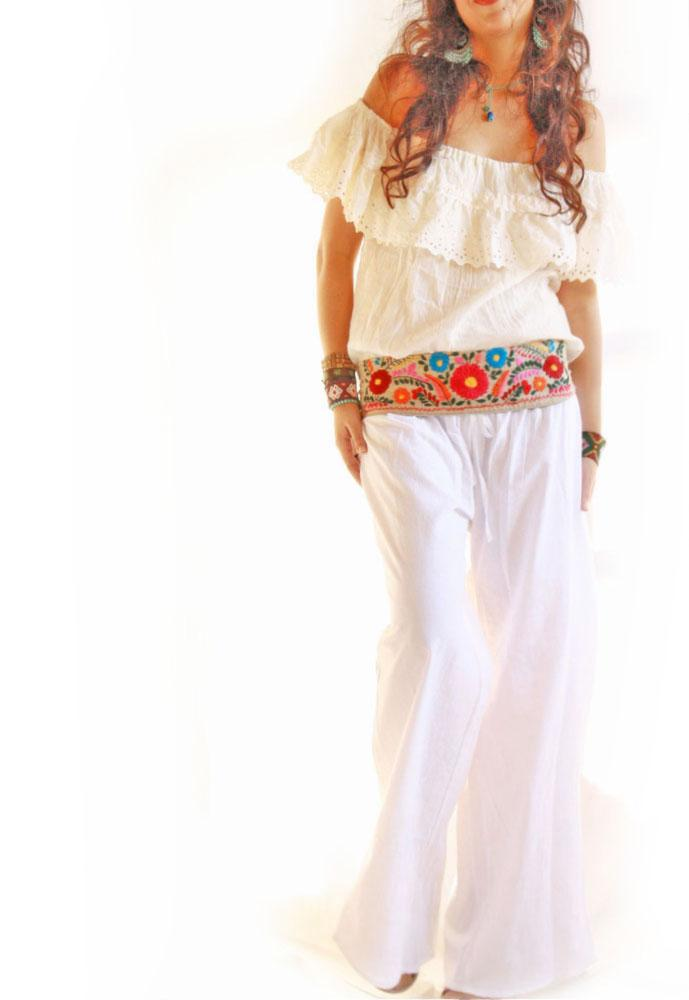 White Peace lounge cotton wide leg pants