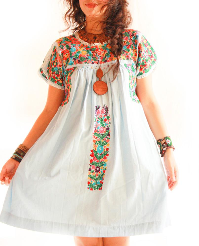 San Antonino Mexican embroidered pleated tunic