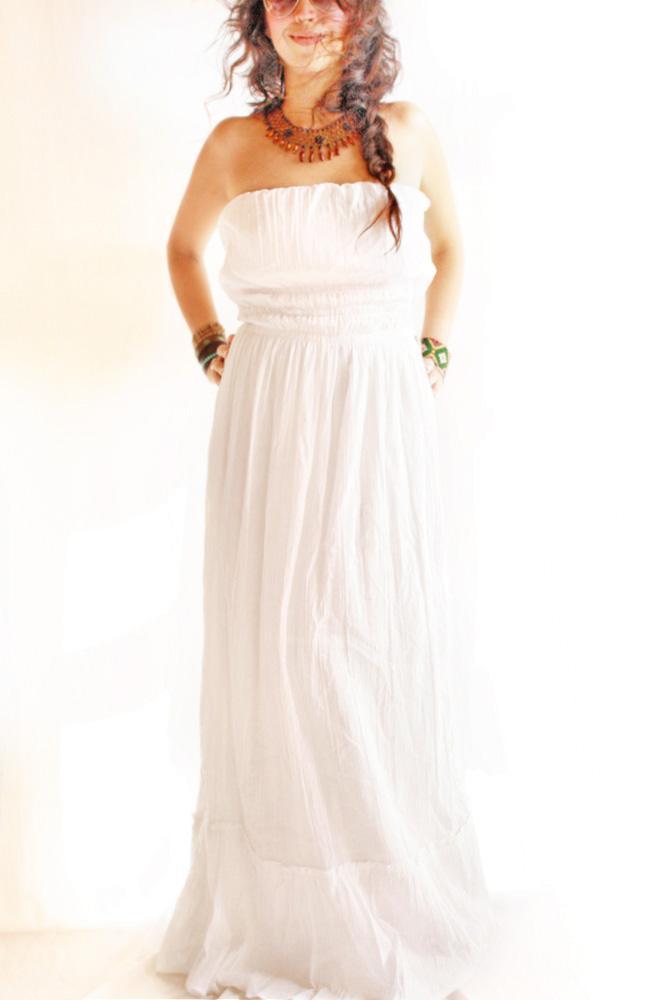 Arbol de la vida nature goddess ruffled bohemian maxi dress