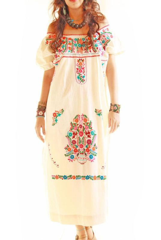 Las Florecitas embroidered ethnic maxi dress