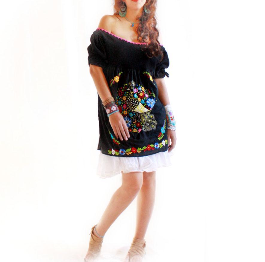 Onix 80's peacock crochet Mexico mini dress
