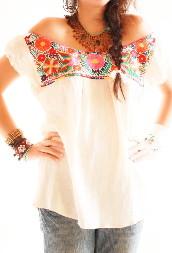 Los Pajaritos Mexican Blouse Off Shoulder