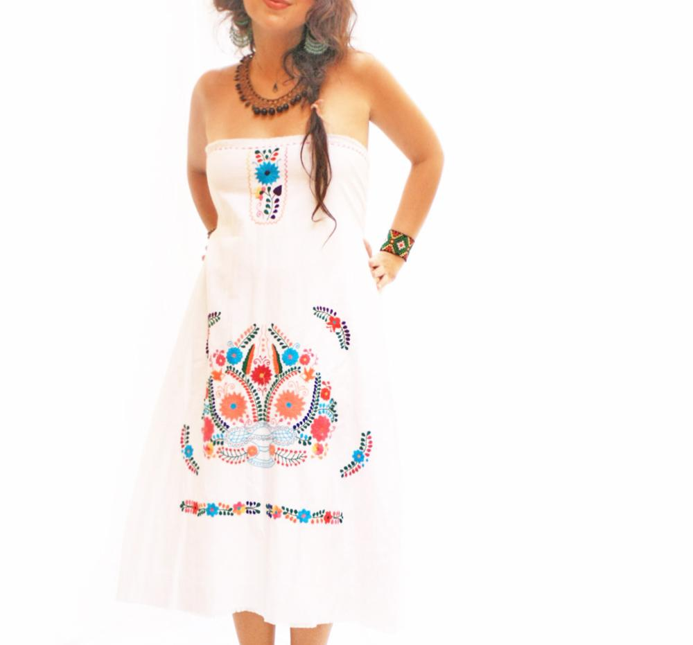 Gracia Mexican strapless embroidered dress