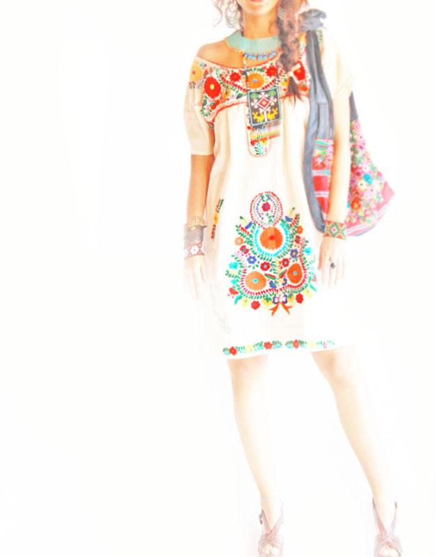 Mexican flowers embroidered dress