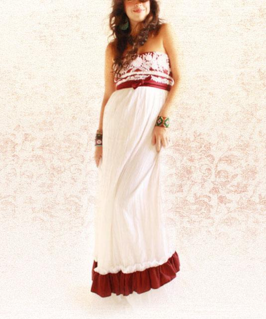 Flor de Jamaica Mexican embroidered convertible maxi ruffled dress