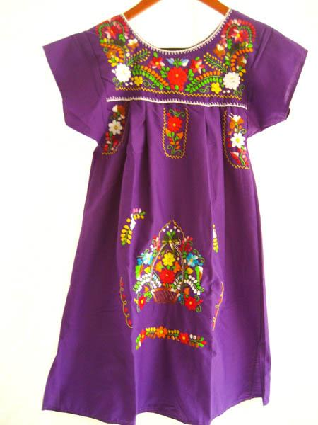 Mexican embroidered Dress Purple Love