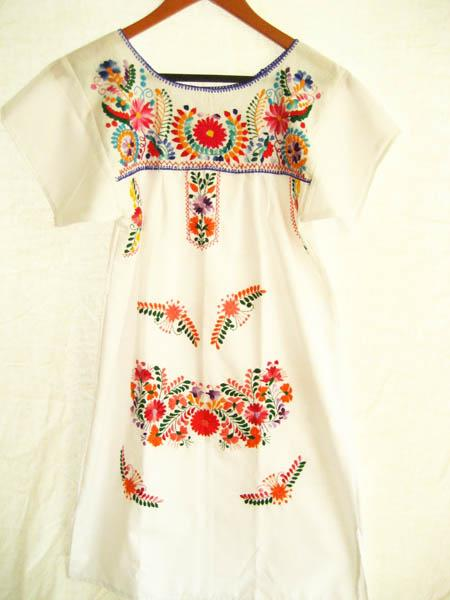 Mexican embroidered Dress Peace white mini tunic tent