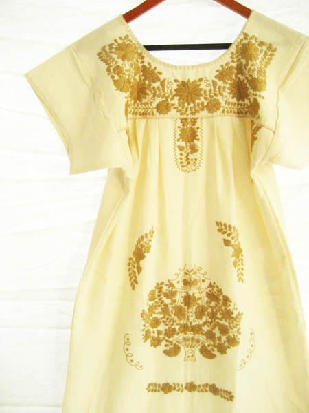 Mexican embroidered Dress vintage Gold